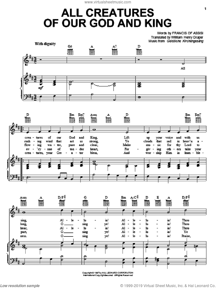 All Creatures Of Our God And King sheet music for voice, piano or guitar by Francis Of Assisi, Geistliche Kirchengesang and William Henry Draper, intermediate skill level