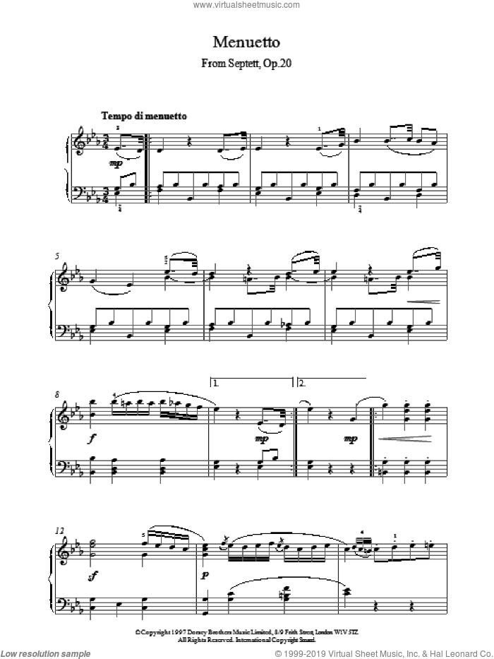 Menuett From Septet Op.20 sheet music for piano solo by Ludwig van Beethoven, classical score, intermediate skill level