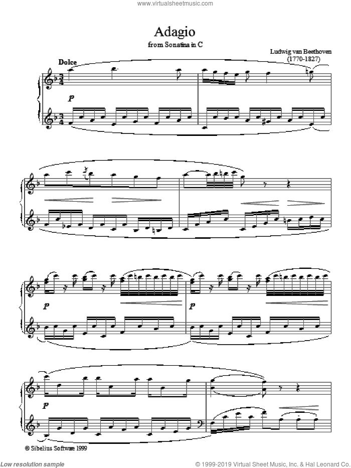 Adagio Sonatina In C sheet music for piano solo by Ludwig van Beethoven. Score Image Preview.