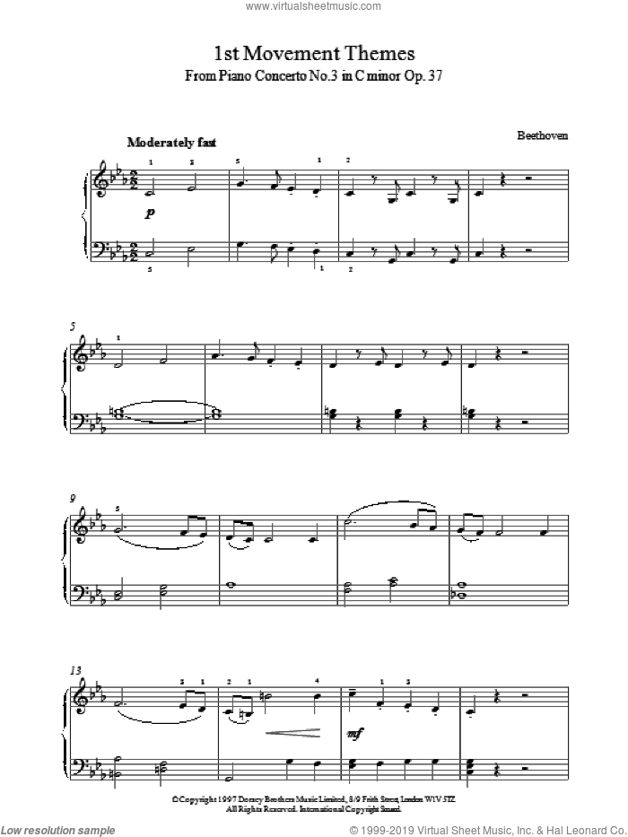 First Movement Themes from Symphony No.6 sheet music for piano solo by Ludwig van Beethoven