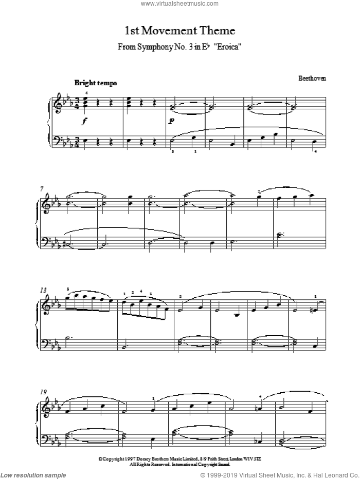 1st Movement Theme From Eroica sheet music for piano solo by Ludwig van Beethoven. Score Image Preview.