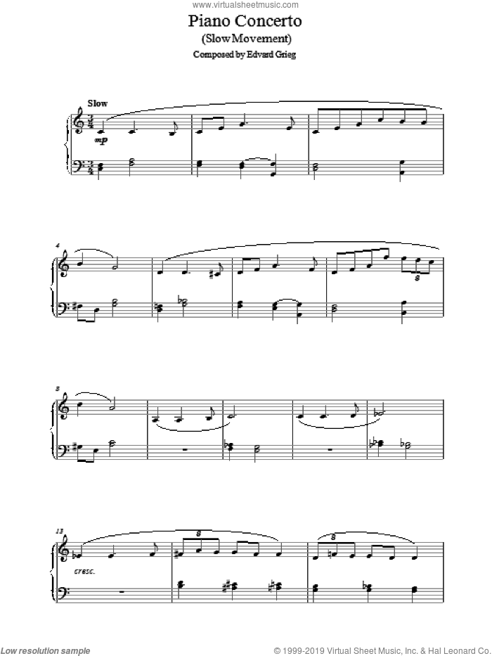 Piano Concerto in G minor (Slow Movement) sheet music for piano solo by Edward Grieg. Score Image Preview.