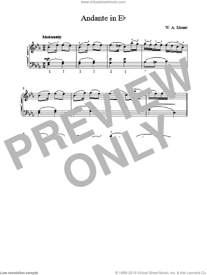 Andante in Eb sheet music for piano solo by Wolfgang Amadeus Mozart, classical score, intermediate skill level