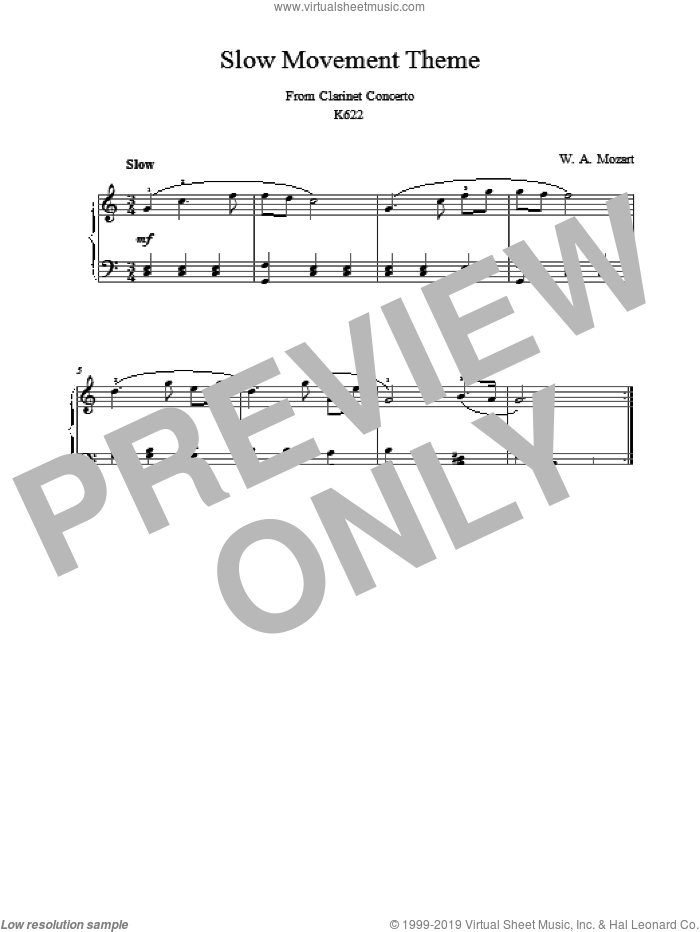 Slow Movement Theme from Clarinet Concerto sheet music for piano solo by Wolfgang Amadeus Mozart. Score Image Preview.