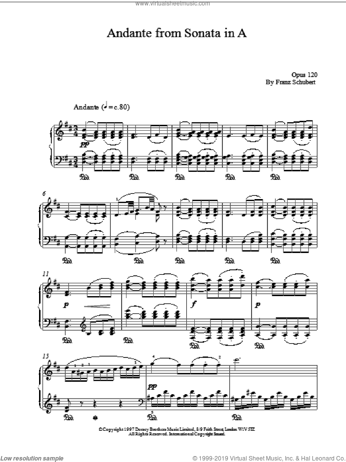 Andante From Sonata In A sheet music for piano solo by Franz Schubert