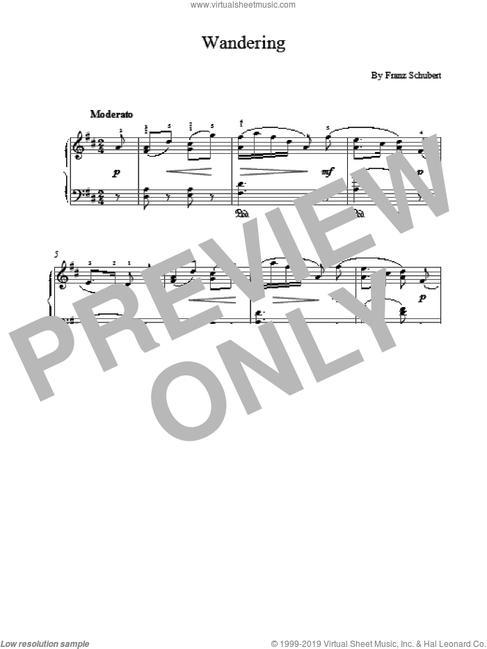 Wandering sheet music for piano solo by Franz Schubert. Score Image Preview.