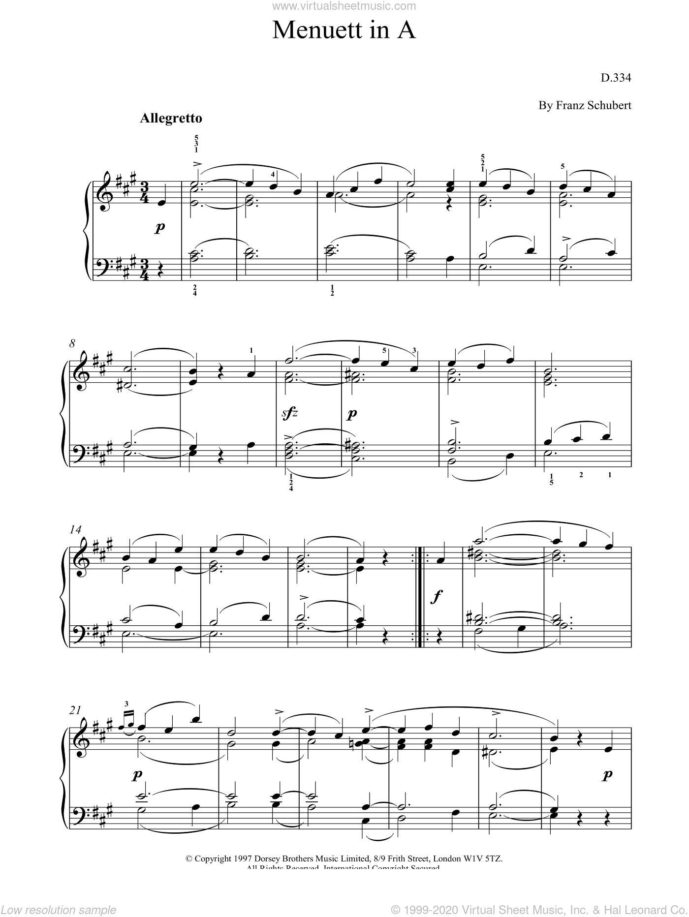 Menuett In A sheet music for piano solo by Franz Schubert. Score Image Preview.