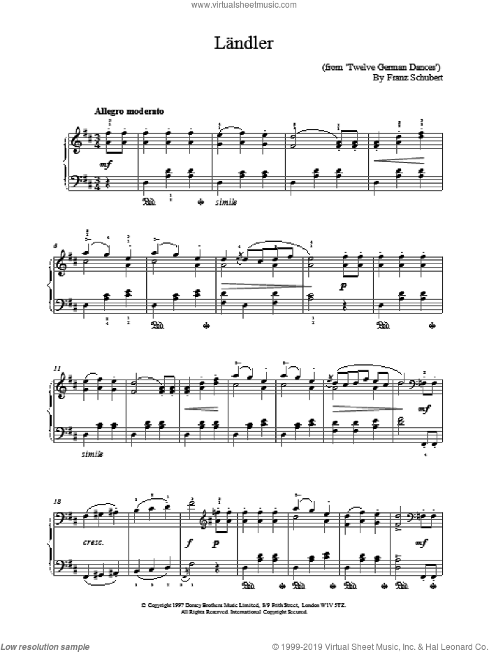 Landler sheet music for piano solo by Franz Schubert. Score Image Preview.