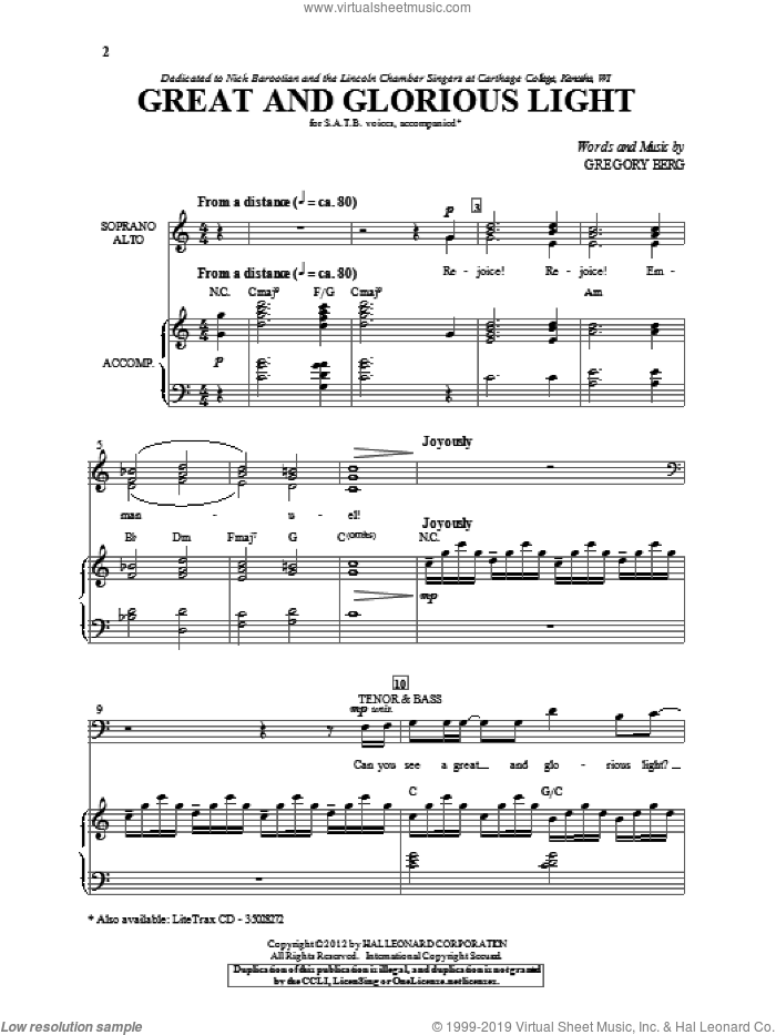 Great And Glorious Light sheet music for choir (SATB: soprano, alto, tenor, bass) by Gregory Berg, intermediate skill level