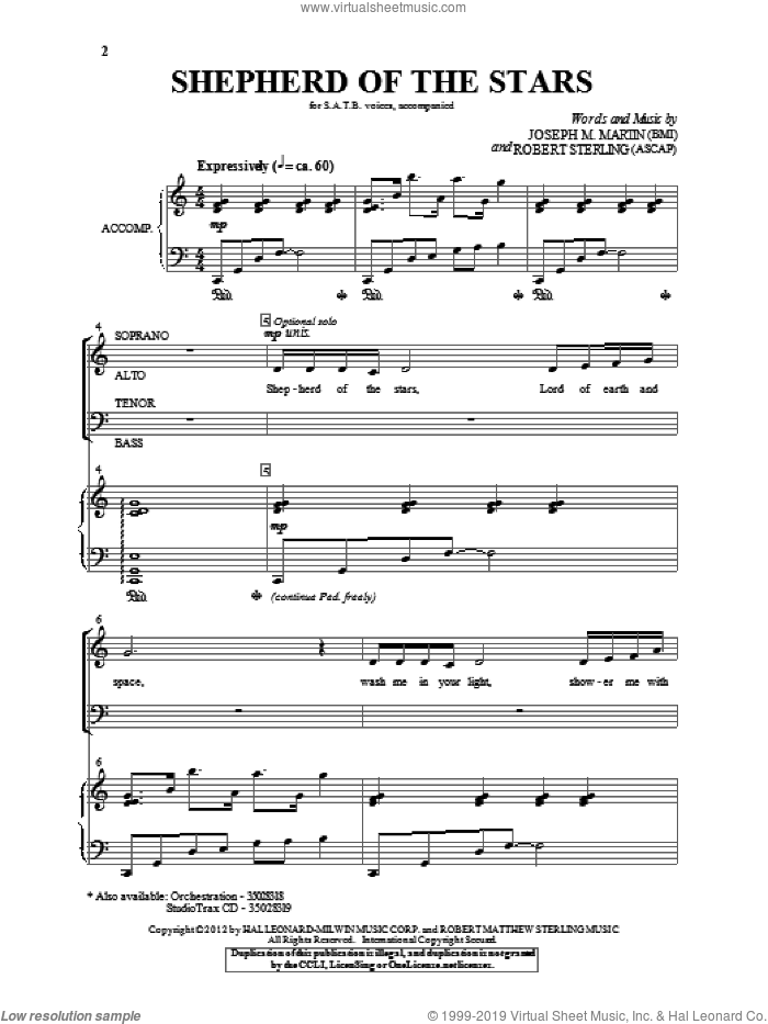 Shepherd Of The Stars sheet music for choir (SATB) by Robert Sterling and Joseph M. Martin. Score Image Preview.