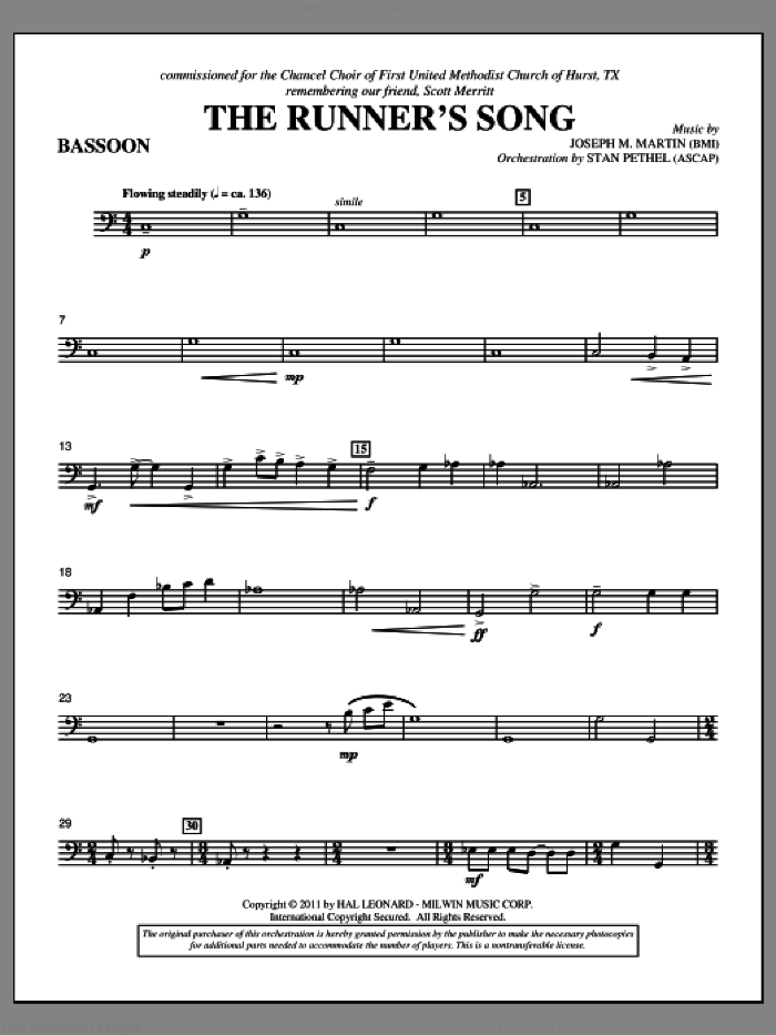 The Runner's Song sheet music for orchestra/band (bassoon) by Joseph M. Martin
