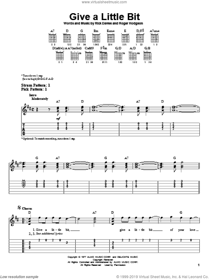 Give A Little Bit sheet music for guitar solo (easy tablature) by Supertramp, Rick Davies and Roger Hodgson, easy guitar (easy tablature)