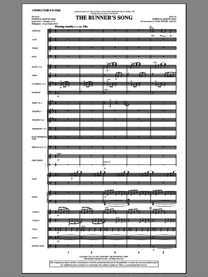 The Runner's Song (complete set of parts) sheet music for orchestra/band (Orchestra) by Joseph M. Martin, intermediate. Score Image Preview.