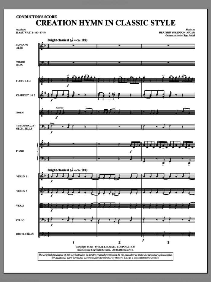 Creation Hymn In Classic Style (complete set of parts) sheet music for orchestra/band (Orchestra) by Heather Sorenson and Isaac Watts, intermediate. Score Image Preview.