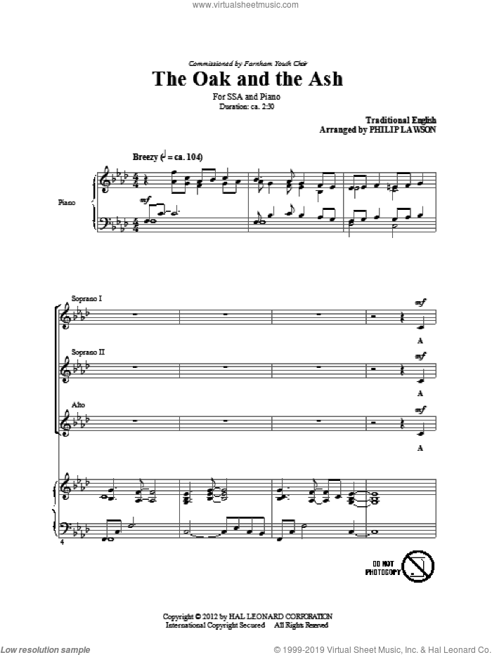 The Oak And The Ash (Love Will Find Out The Way) sheet music for choir (SSA: soprano, alto) by Philip Lawson and Miscellaneous, intermediate