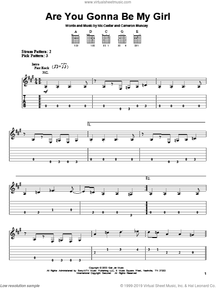 Are You Gonna Be My Girl sheet music for guitar solo (easy tablature) by Cameron Muncey and Nic Cester. Score Image Preview.