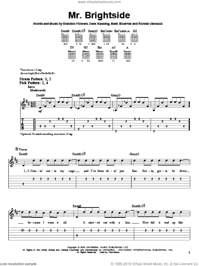 Mr. Brightside sheet music for guitar solo (easy tablature) by The Killers, Brandon Flowers, Dave Keuning, Mark Stoermer and Ronnie Vannucci, easy guitar (easy tablature). Score Image Preview.