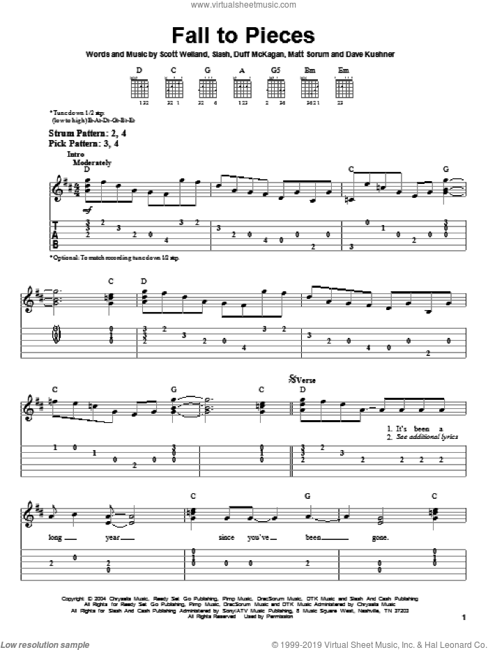 Fall To Pieces sheet music for guitar solo (easy tablature) by Velvet Revolver, Duff McKagan and Slash, easy guitar (easy tablature). Score Image Preview.