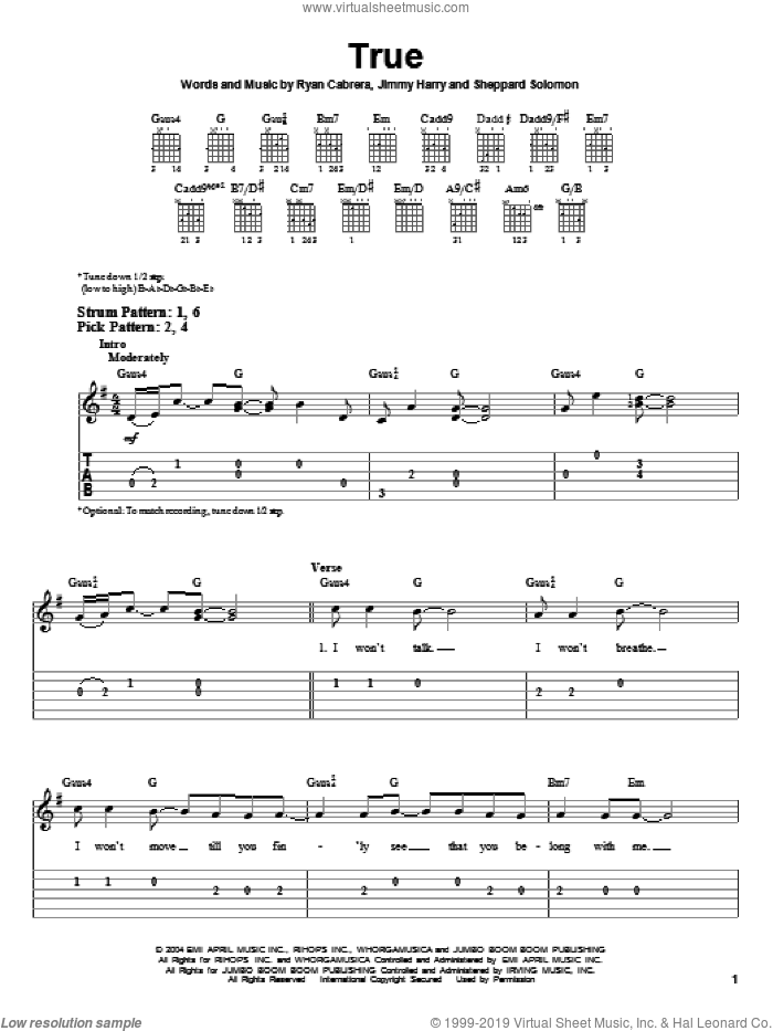 True sheet music for guitar solo (easy tablature) by Sheppard Solomon and Jimmy Harry. Score Image Preview.