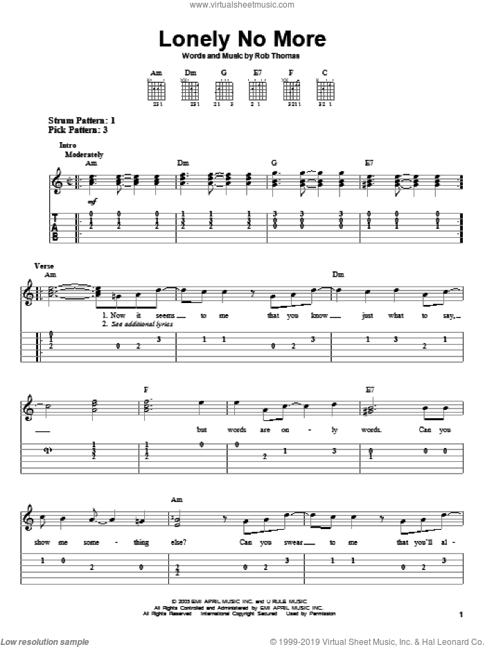 Lonely No More sheet music for guitar solo (easy tablature) by Rob Thomas, easy guitar (easy tablature)