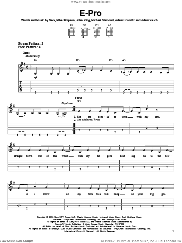 E-Pro sheet music for guitar solo (easy tablature) by Mike Simpson, Adam Horovitz, Adam Yauch, Beck Hansen, John King and Michael Diamond. Score Image Preview.