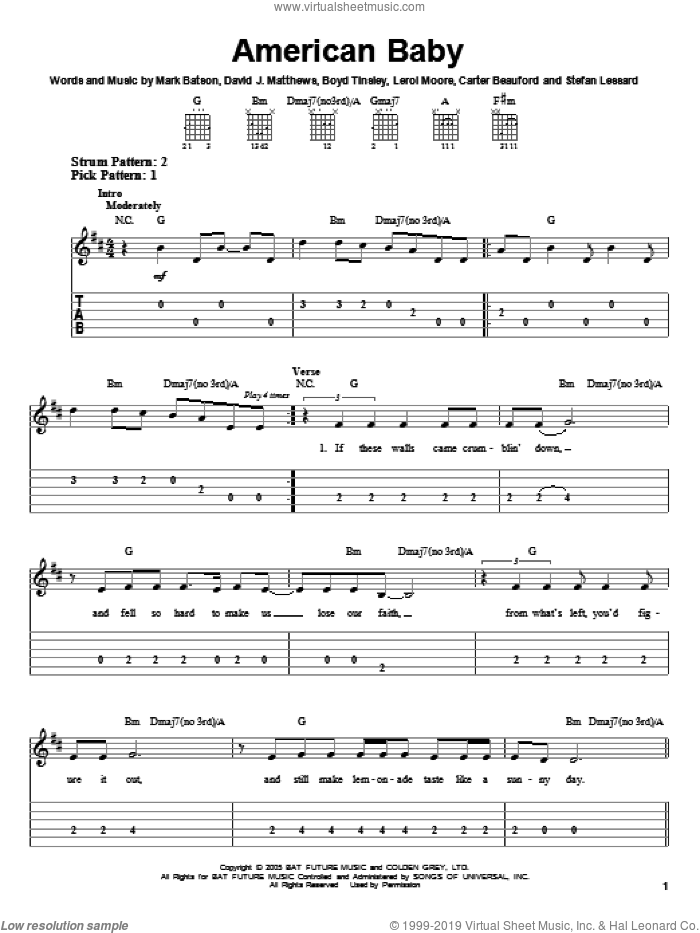 American Baby sheet music for guitar solo (easy tablature) by Stefan Lessard, Carter Beauford, Dave Matthews Band, Leroi Moore and Mark Batson. Score Image Preview.