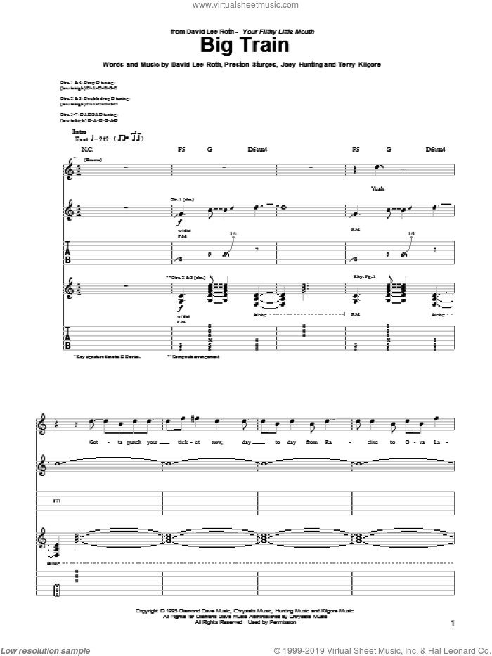 Big Train sheet music for guitar (tablature) by Terry Kilgore