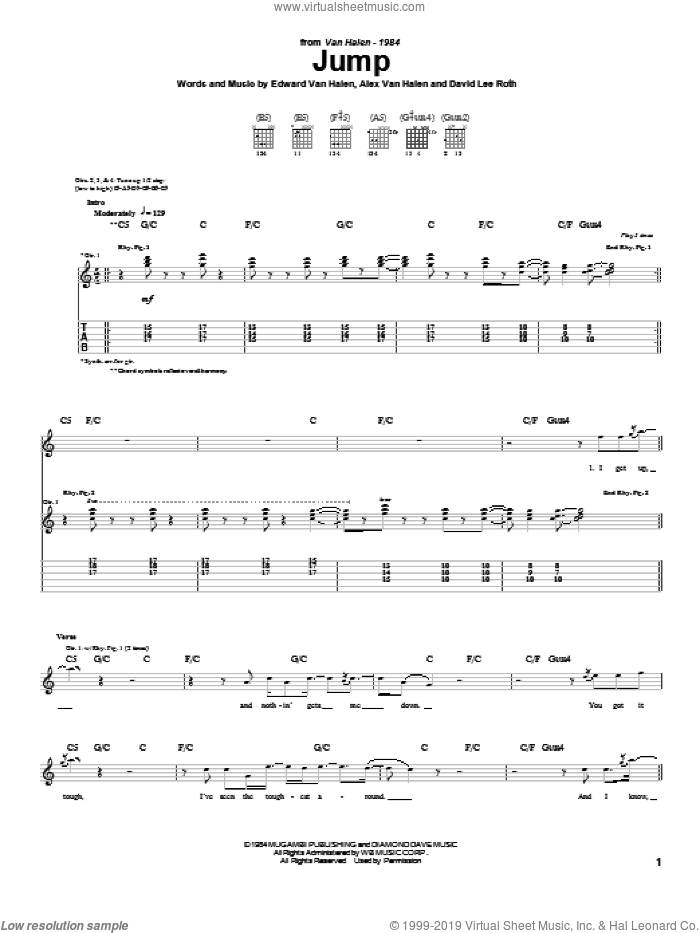 Jump sheet music for guitar (tablature) by Michael Anthony, Alex Van Halen, David Lee Roth and Edward Van Halen. Score Image Preview.