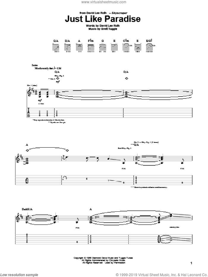 Just Like Paradise sheet music for guitar (tablature) by Brett Tuggle and David Lee Roth. Score Image Preview.