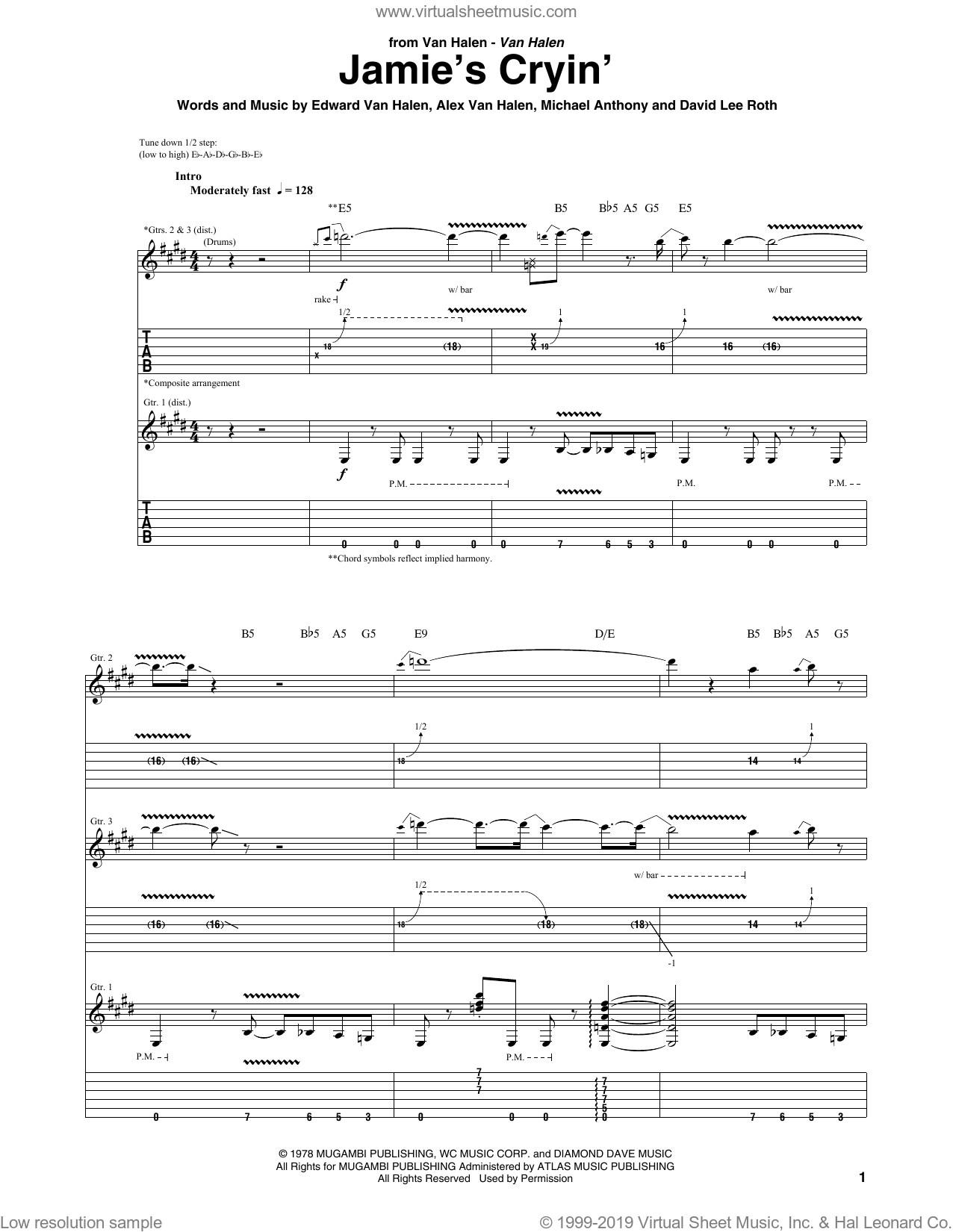 Jamie's Cryin' sheet music for guitar (tablature) by Michael Anthony, Alex Van Halen, David Lee Roth and Edward Van Halen. Score Image Preview.