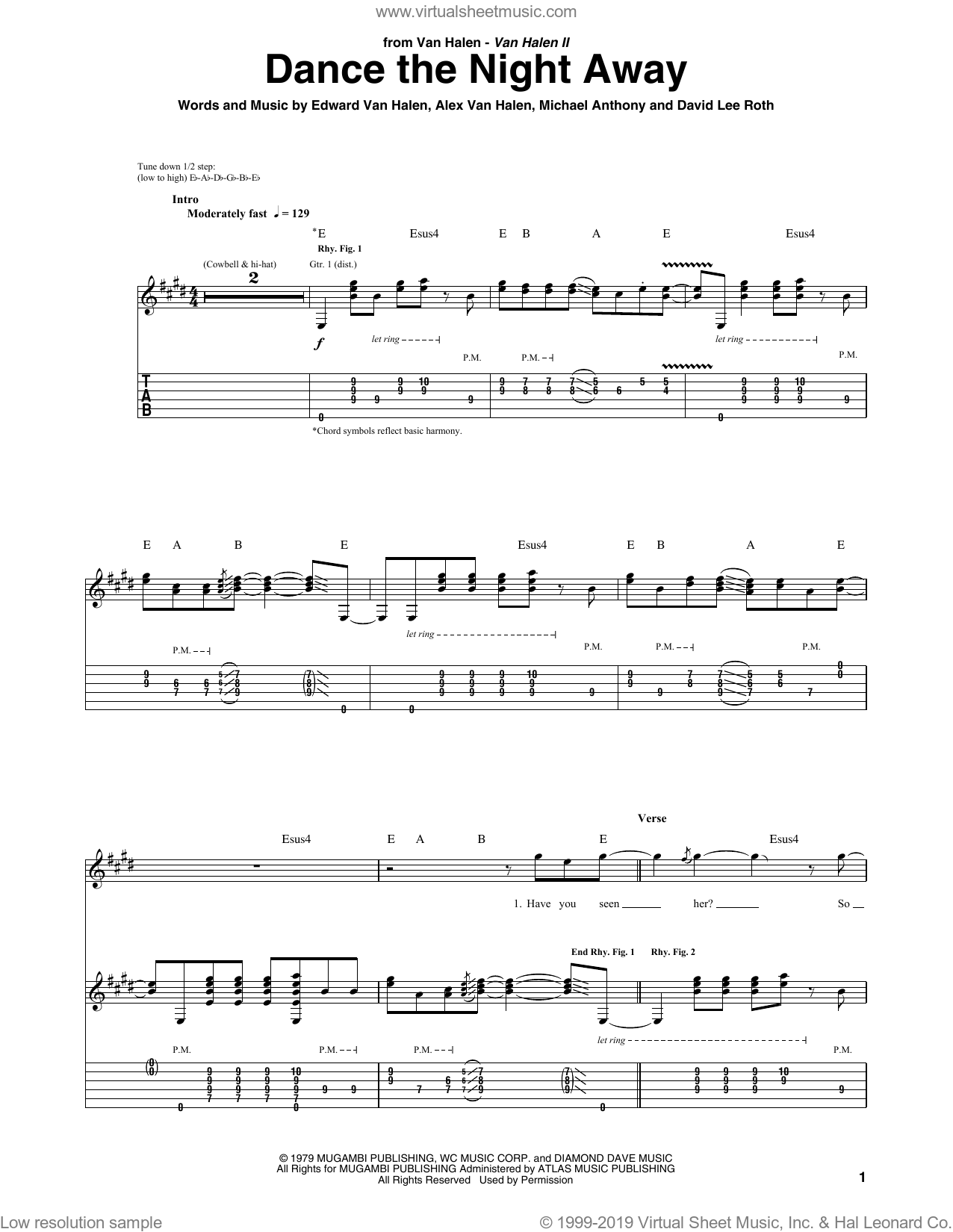 Dance The Night Away sheet music for guitar (tablature) by Edward Van Halen, Alex Van Halen, David Lee Roth and Michael Anthony. Score Image Preview.