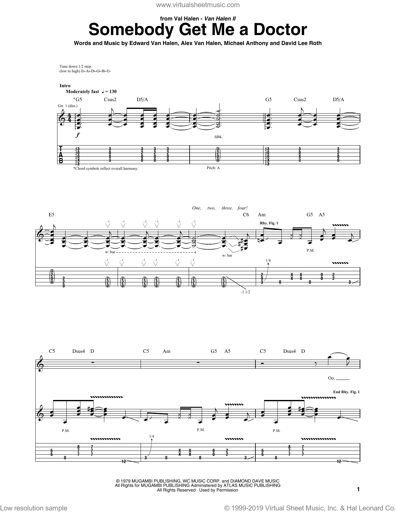 Somebody Get Me A Doctor sheet music for guitar (tablature) by Michael Anthony, Alex Van Halen, David Lee Roth and Edward Van Halen. Score Image Preview.