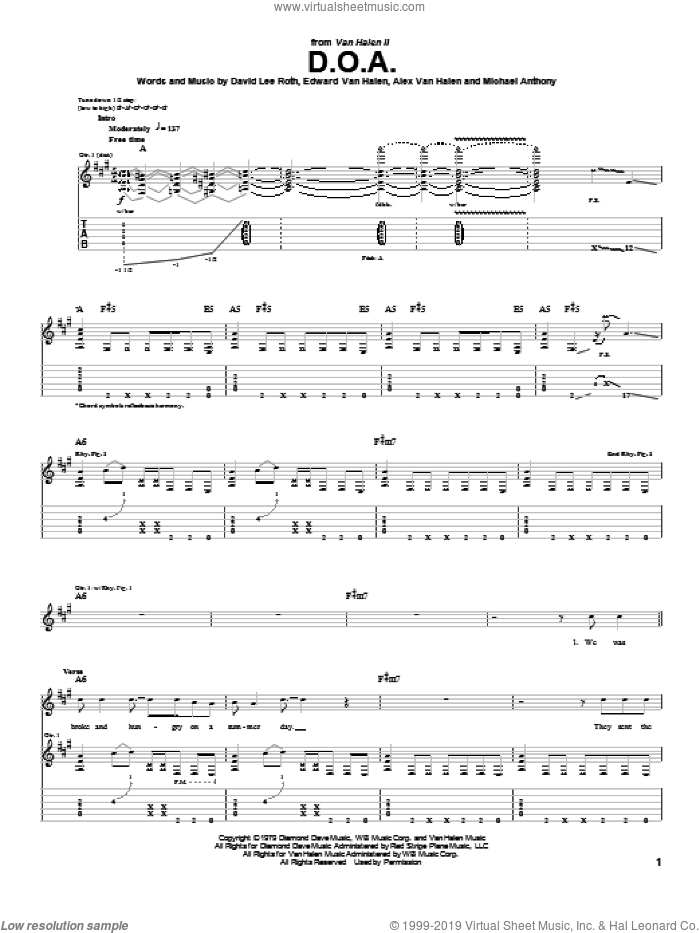 D.O.A. sheet music for guitar (tablature) by Edward Van Halen, Alex Van Halen, David Lee Roth and Michael Anthony, intermediate. Score Image Preview.