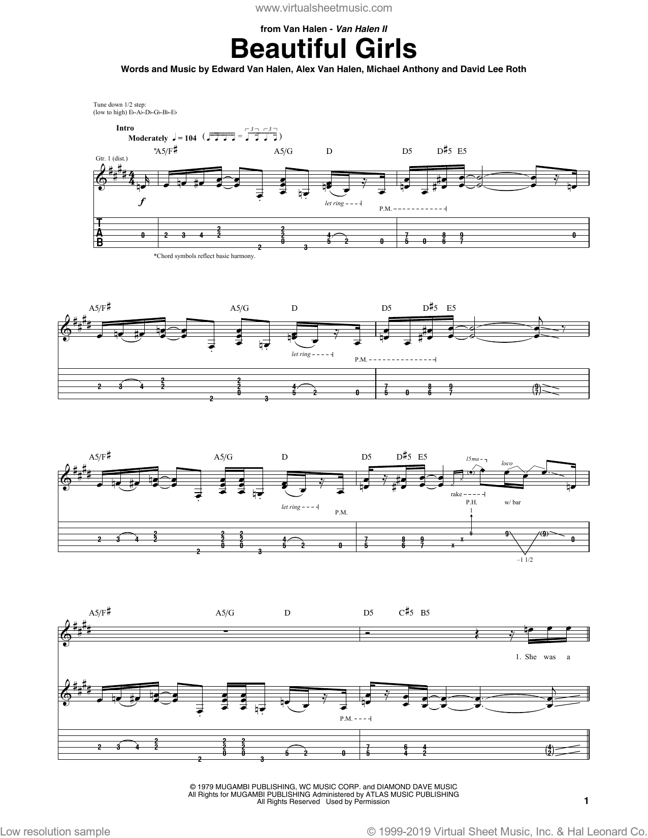Beautiful Girls sheet music for guitar (tablature) by Michael Anthony, Alex Van Halen, David Lee Roth and Edward Van Halen. Score Image Preview.