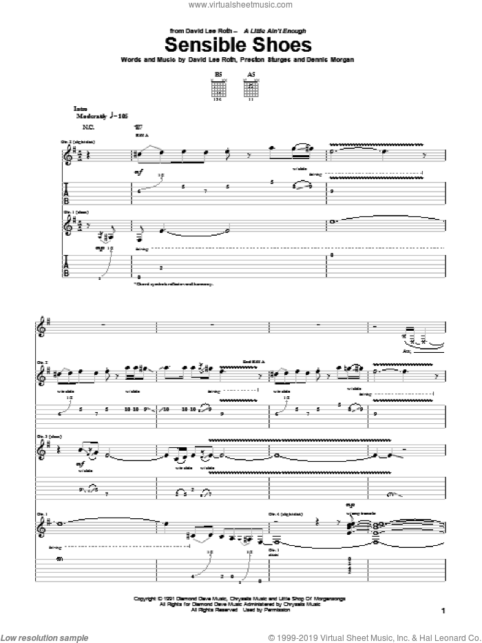 Sensible Shoes sheet music for guitar (tablature) by Preston Sturges