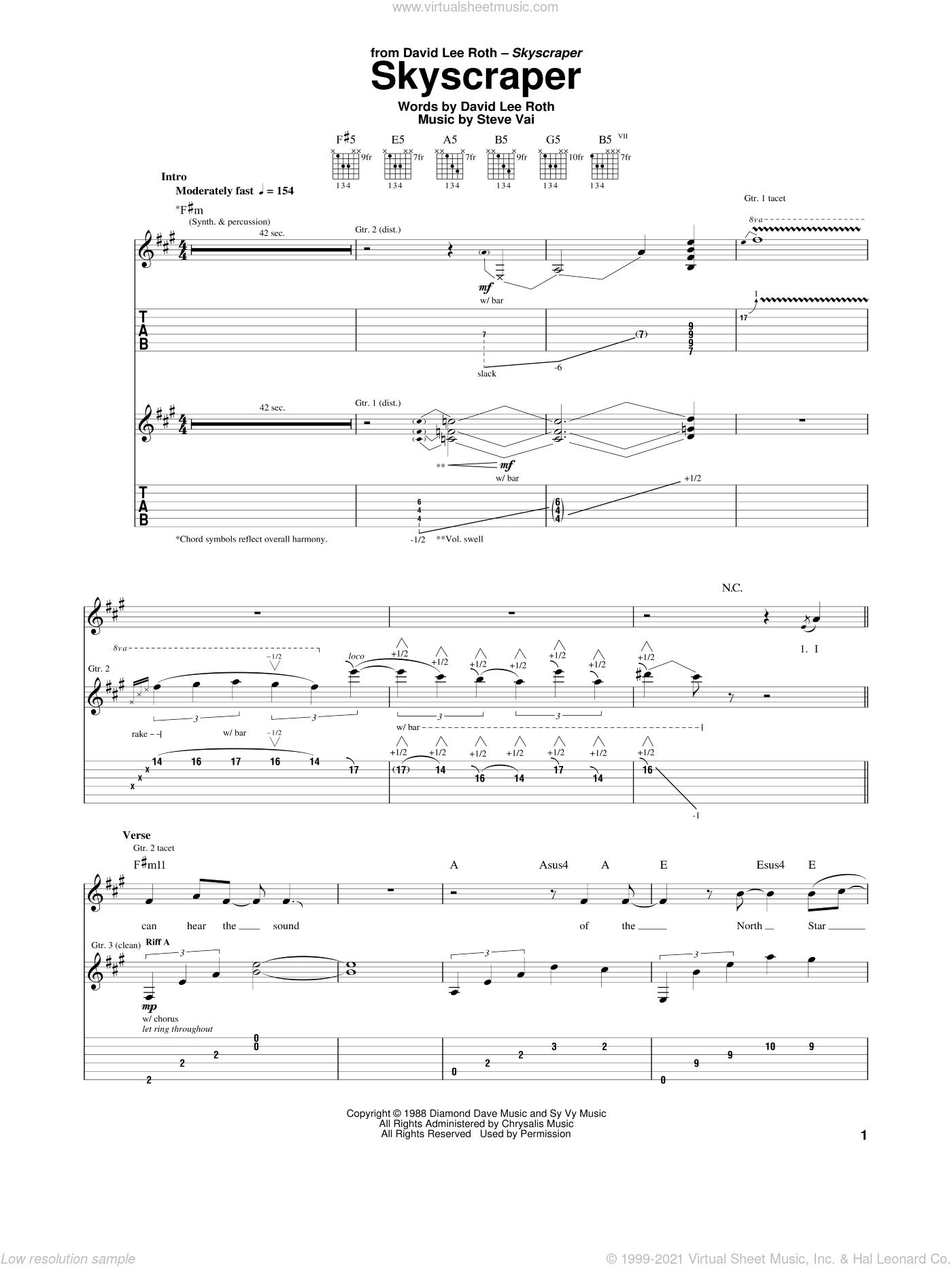 Skyscraper sheet music for guitar (tablature) by Steve Vai and David Lee Roth. Score Image Preview.