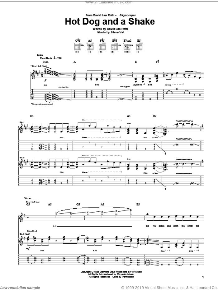 Hot Dog And A Shake sheet music for guitar (tablature) by Steve Vai and David Lee Roth. Score Image Preview.