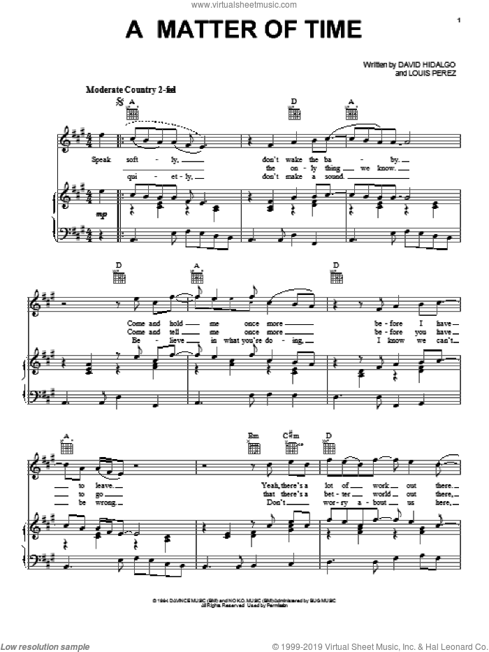 A Matter Of Time sheet music for voice, piano or guitar by Los Lobos, David Hidalgo and Louis Perez, intermediate skill level