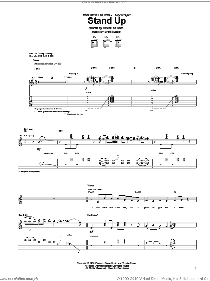 Stand Up sheet music for guitar (tablature) by Brett Tuggle and David Lee Roth. Score Image Preview.