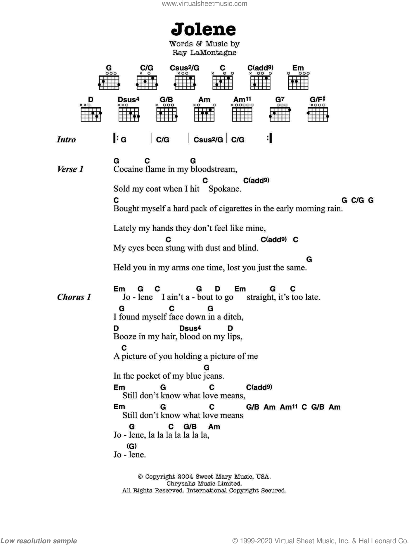 Jolene sheet music for guitar (chords) by Ray LaMontagne. Score Image Preview.
