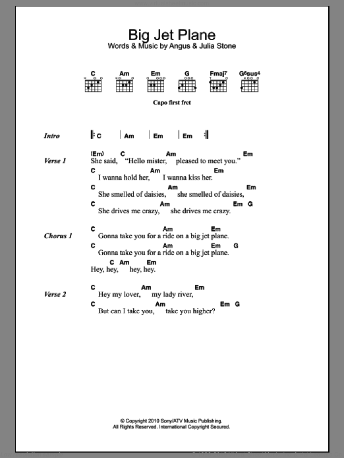 Big Jet Plane sheet music for guitar (chords) by Julia Stone and Angus Stone, intermediate skill level