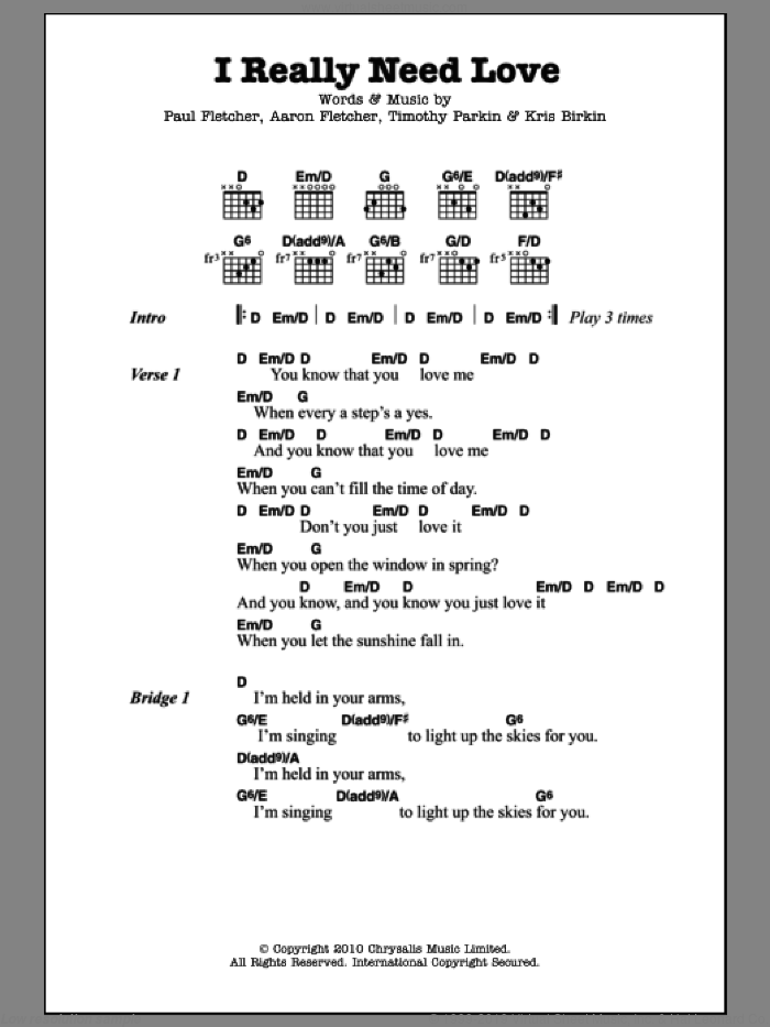 I Really Need Love sheet music for guitar (chords) by Timothy Parkin and Aaron Fletcher. Score Image Preview.