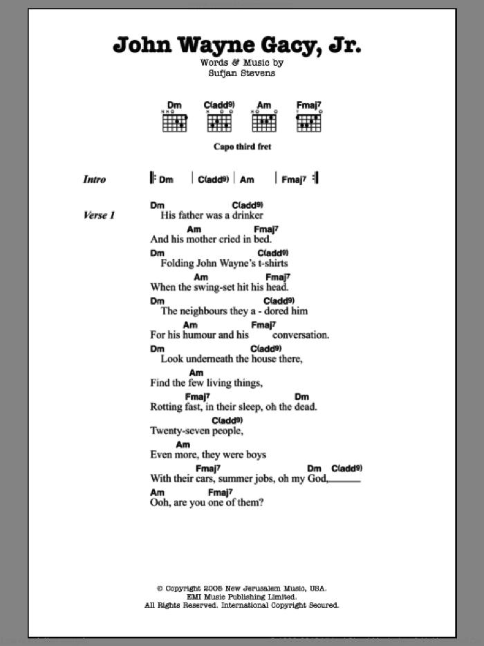 John Wayne Gacy, Jr. sheet music for guitar (chords) by Sufjan Stevens, intermediate skill level