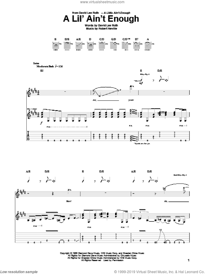 A Lil' Ain't Enough sheet music for guitar (tablature) by David Lee Roth and Robbie Nevil. Score Image Preview.