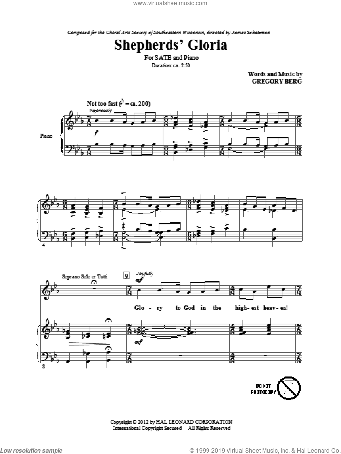 Shepherd's Gloria sheet music for choir (SATB: soprano, alto, tenor, bass) by Gregory Berg, intermediate skill level