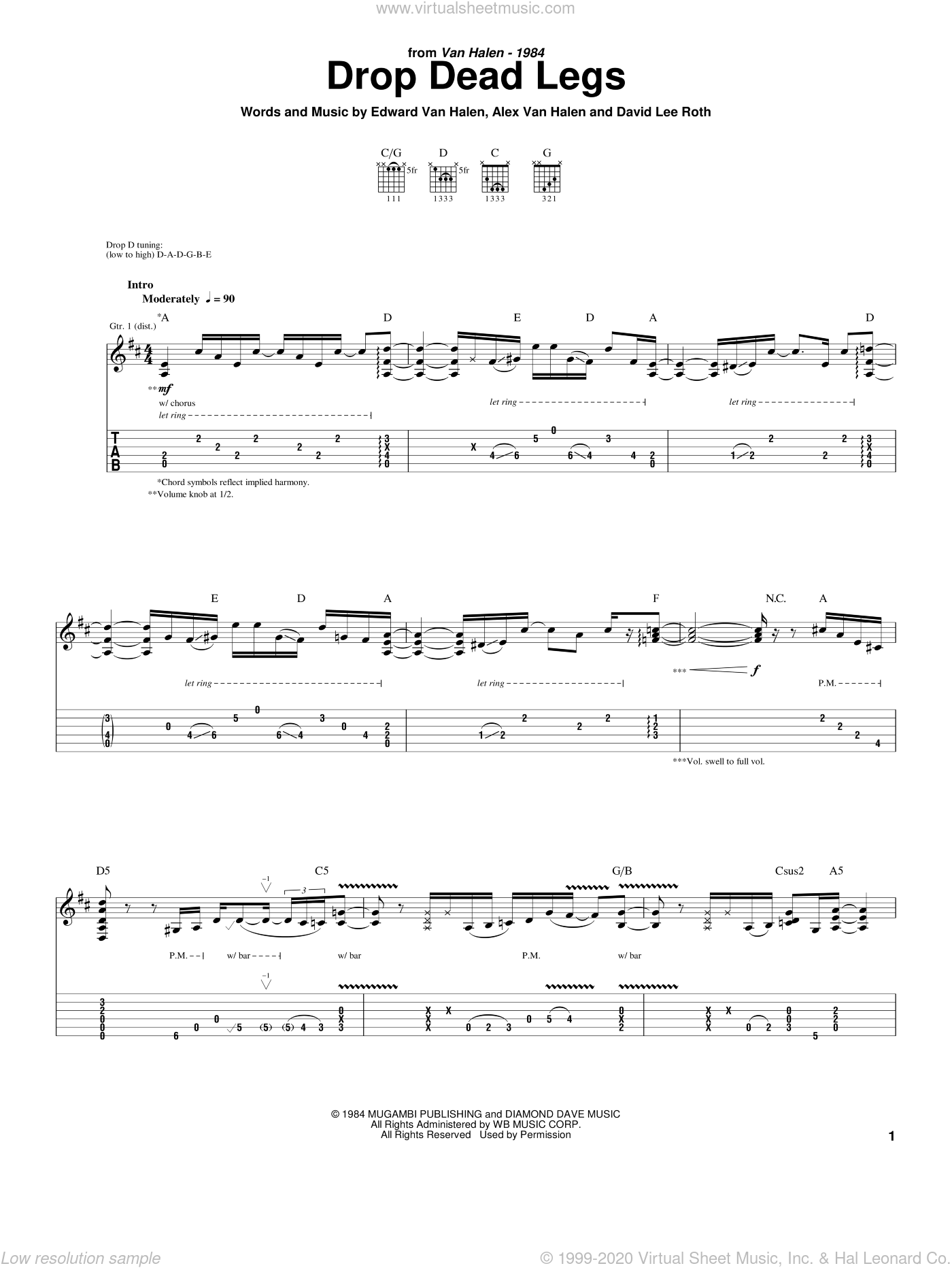 Drop Dead Legs sheet music for guitar (tablature) by Edward Van Halen, Alex Van Halen and David Lee Roth. Score Image Preview.