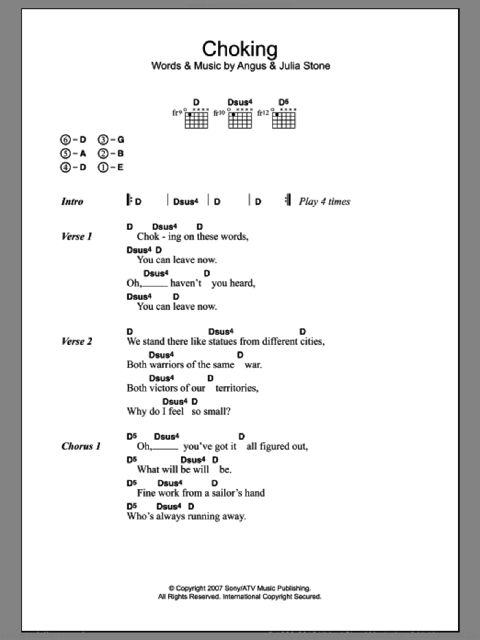 Choking sheet music for guitar (chords) by Angus Stone