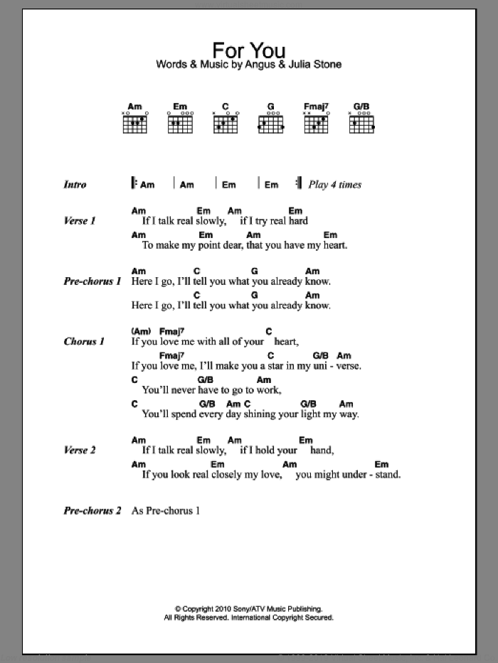 For You sheet music for guitar (chords) by Julia Stone and Angus Stone, intermediate skill level