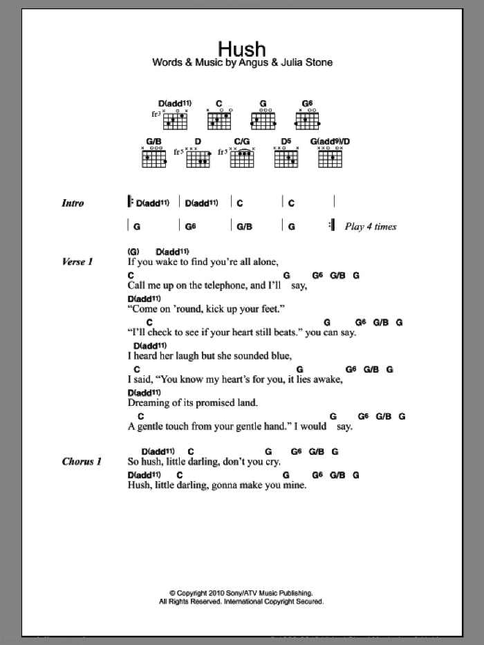 Hush sheet music for guitar (chords) by Angus Stone and Julia Stone. Score Image Preview.