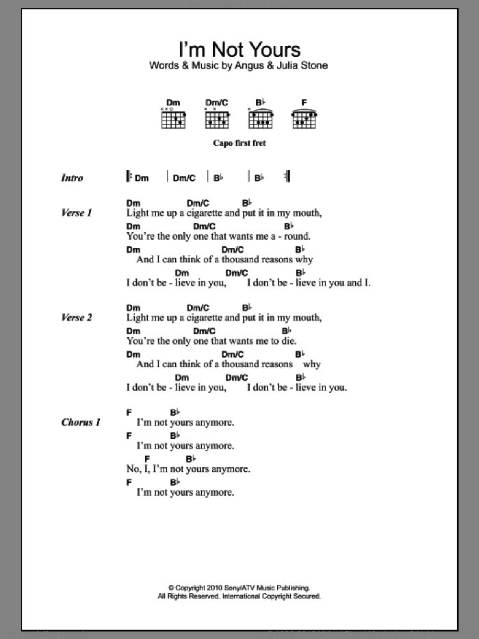 I'm Not Yours sheet music for guitar (chords) by Julia Stone and Angus Stone, intermediate